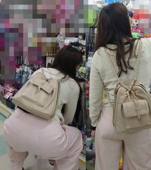 【FHD】お尻動画02 ピンクのパンツスタイルの美人若ママのヒップ