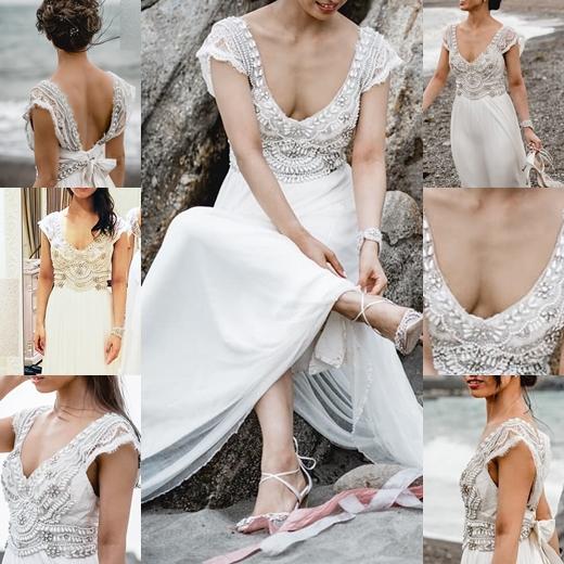 新婦さん37 胸元から乳を見せつけるドレスの花嫁さま